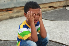 Asian little boy shock. Visible asian little boy shock royalty free stock photography