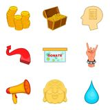 Regret icons set, cartoon style Royalty Free Stock Images