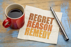 Regret, reason, remedy word abstract Royalty Free Stock Photo