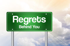 Regrets, Behind You Green Road Sign Stock Photography