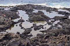 Regroupements de marée de Makapuu Image stock