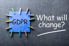 Regulación general de la protección de datos o conformidad de GDPR - qué cambiará - pregunta sobre fondo oscuro fotografía de archivo libre de regalías
