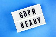 Regulación general de la protección de datos Texto GDPR listo Fotos de archivo libres de regalías