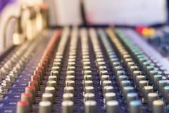 Regulador consola o del mezclador de mezcla sana de sonidos, fotos de archivo