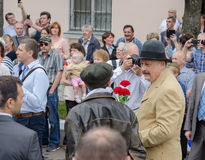 Regulador da região A de Leninegrado Y Drozdenko no festival aniversário do 89-th Cidade de Slantsy Foto de Stock
