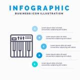 Regulador, hardware, teclado, Midi, línea icono de la música con el fondo del infographics de la presentación de 5 pasos stock de ilustración