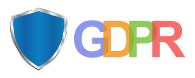 Regulamento geral da proteção de dados de GDPR A criptografia dos regulamentos e de dados da proteção do Eu vector o fundo do con Imagens de Stock