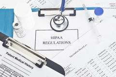 Regulamentos de HIPAA Imagem de Stock