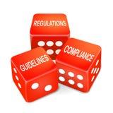 Regulamentos, diretrizes e palavras da conformidade em três dados vermelhos Imagem de Stock Royalty Free