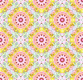 Regular abstract round retro blossoms pink violet yellow red purple, mint green Royalty Free Stock Images