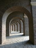 Arches of Roman Amphitheatre at Archaeological Park in Xanten, Germany. The regular arches of the partial replica of the Roman amphitheater have been constructed stock image
