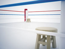 A regular boxing ring surrounded by ropes Royalty Free Stock Photo