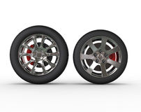 Regular car wheels - front view Royalty Free Stock Photo