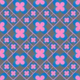 Regular checked seamless pattern. Geometric abstract seamless texture with floral design.  Abstract  background  with  flower design Stock Photo