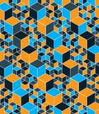 Regular colorful textured endless pattern with cubes, continuous Stock Photography