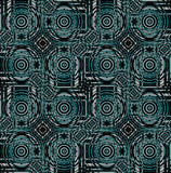 Regular concentric circles and diamond  pattern green turquoise gray brown black Stock Images