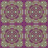 Regular concentric circles ornament purple green orange squares. Abstract geometric seamless background. Regular concentric circles ornament purple, light green royalty free illustration