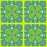 Regular concentric circles ornament purple lemon lime green in squares framed Royalty Free Stock Photos