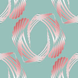 Regular curved stripes pattern pink white pastel red on pale green shining. Abstract geometric seamless background. Regular curved stripes pattern pink, white Stock Photography