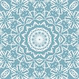 Regular delicate circle ornament white blue gray. Abstract geometric vintage background, lace pattern. Regular delicate circle ornament white on blue gray vector illustration