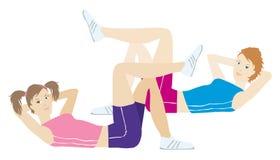 Regular exercise. Girls doing regular exercise vector illustration