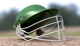 Cricket Helmet On Cracket Pitch Front Stock Photography