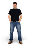 Regular guy full body shot. Complete body shot of a tall guy looking at camera, real ordinary middle aged bearded white man, can be actor or regular joe Royalty Free Stock Photo