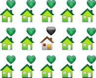 Regular House among ecological houses Stock Photography