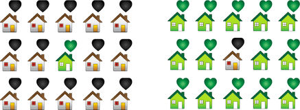 Regular House and ecological houses Stock Image