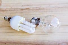 Regular incandescent and energy saving bulb Royalty Free Stock Image