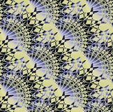 Regular intricate fan-shaped pattern purple yellow and black diagonally. Abstract geometric background. Regular intricate fan-shaped pattern purple yellow and Stock Image