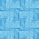 Regular intricate ornaments and stripes pattern light blue shifted seamless single color Stock Photo