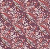 Regular intricate pattern purple pink red gray diagonally. Abstract geometric multicolored background. Regular intricate pattern purple, pink, red, brown and stock illustration