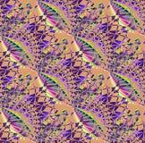 Regular intricate pattern in purple shades on light brown diagonally Royalty Free Stock Photo