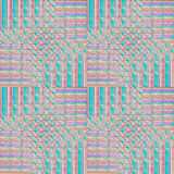 Regular intricate pattern turquoise, pink, purple, violet, shifted. Royalty Free Stock Photo