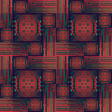 Regular intricate squares and rectangles pattern with circles red green purples Stock Photo