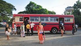 Regular public bus from Hikkaduwa to Galle Stock Image