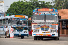 Regular public bus from Hikkaduwa to Galle in Sri Lanka. Stock Photo
