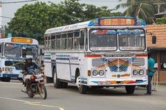 Regular public bus from Hikkaduwa to Galle.  Sri Lanka. Royalty Free Stock Images