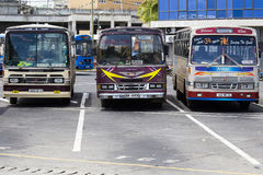 Regular public buses at the bus station in Mauritius Royalty Free Stock Photo