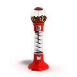 A regular red vintage gumball dispenser machine made of glass an Stock Photography