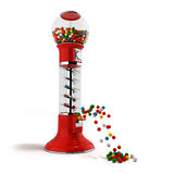 A regular red vintage gumball dispenser machine made of glass an Stock Photo