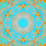 Regular round intricate ornament turquoise blue, orange, pink and ocher Stock Photos