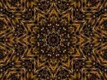 Regular round star ornament gold ocher brown Royalty Free Stock Photo