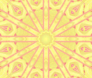 Regular round star ornament yellow violet pink centered Stock Image