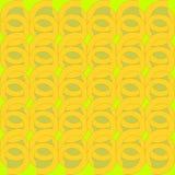 Regular round pattern yellow green spirals overlaying Royalty Free Stock Photo