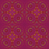 Regular seamless floral circles pattern violet purple orange green Royalty Free Stock Photo