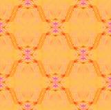 Regular seamless floral retro ornaments yellow orange pink violet red blurred stock illustration