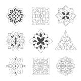 Regular Shape Doodle Ornamental Figures In Black In White Color For The Zen Adult Coloring Book Set Of Illustrations Royalty Free Stock Images