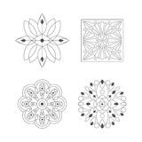 Regular Shape Four Doodle Ornamental Figures In Monochrome Colors For The Adult Coloring Book Set Of Illustrations Stock Images